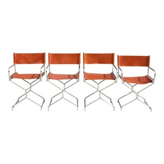 Chrome & Natural Leather Folding Director's Chairs - Set of 4