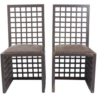 Vintage Geometric Wooden Chairs - a Pair