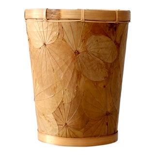 Vintage Palm Leaf Waste Basket