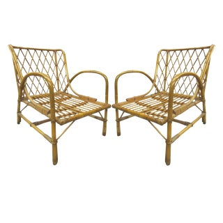 Pair of Rattan Armchairs by Jacques Quinet
