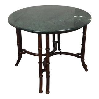 Gumps Round Green Marble Top Table