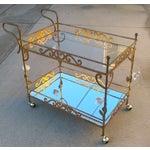 Image of Vintage Italian Brass Bar Cart W/ Porcelain Roses