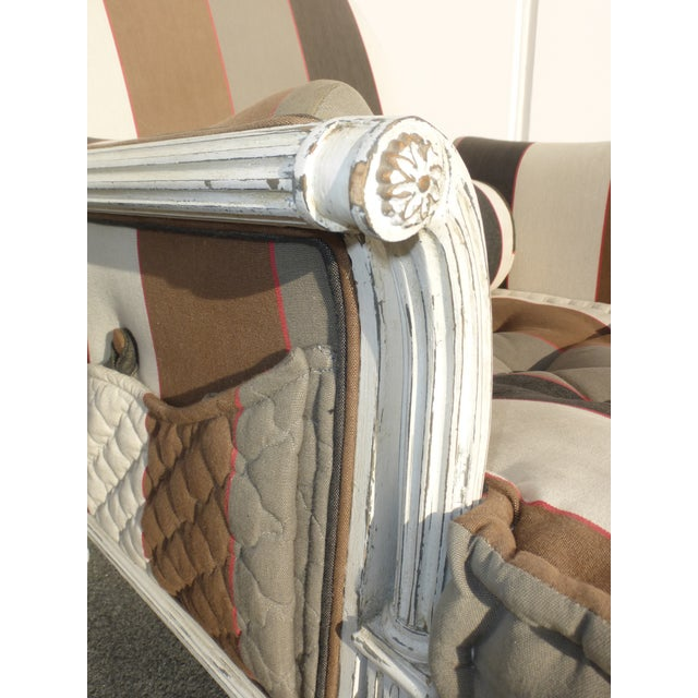 French Provincial Striped Upholstery Arm Chair - Image 10 of 11