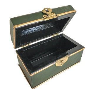 Vintage Brass-Banded Gentlemen's Cuff Link Box
