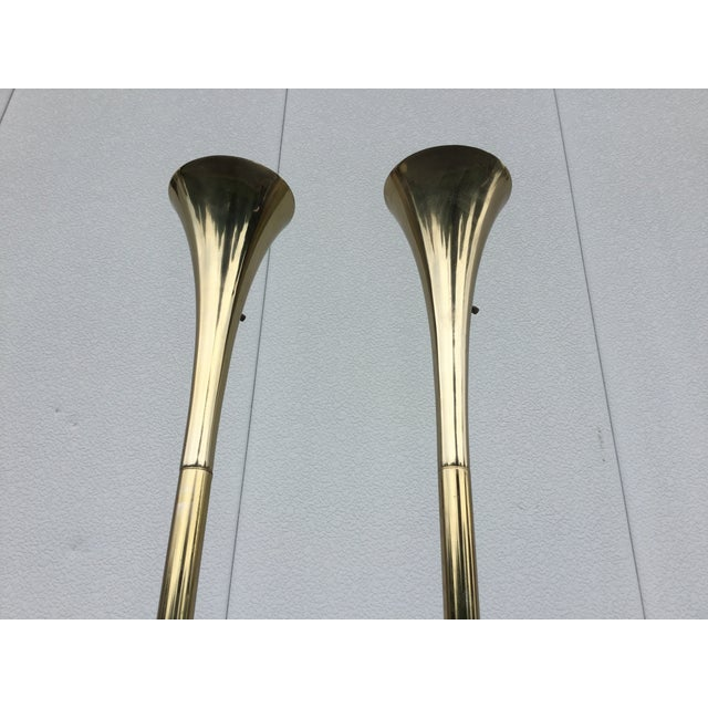 Laurel Brass Torchiere Floor Lamps - A Pair - Image 4 of 10