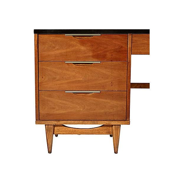 1960s Walnut & Black Top Desk - Image 3 of 5