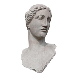 Monumental 4 Foot Tall Neoclassical Bust of Goddess