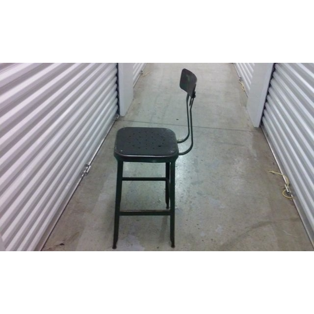 Antique Industrial Black Metal Stool - Image 4 of 5