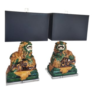 Green & Gold Ceramic Foo Dog Table Lamps- A Pair