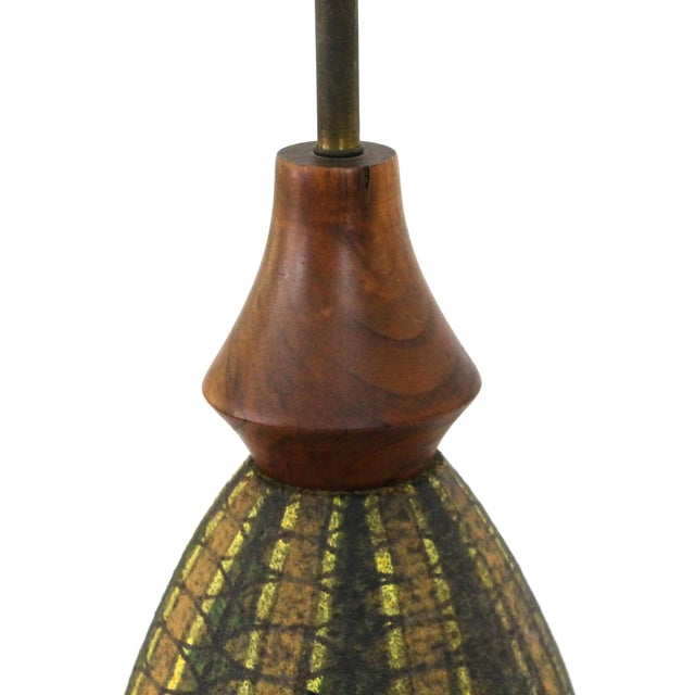 Mid-Century Modern Bitossi Pottery Teak Lamp - Image 3 of 7