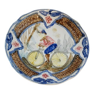 Antique Majolica Bicycle Plate