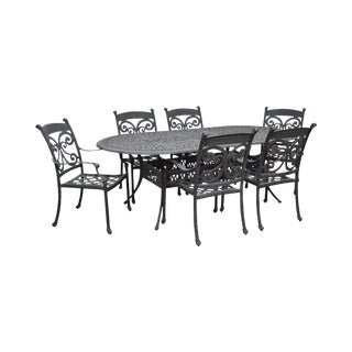 Cast Aluminum Patio Dining Table & 6 Chair Set