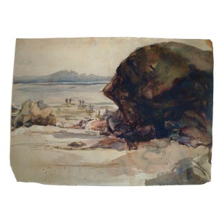 1940s Rocky Cove & Old Pier Watercolor Painting
