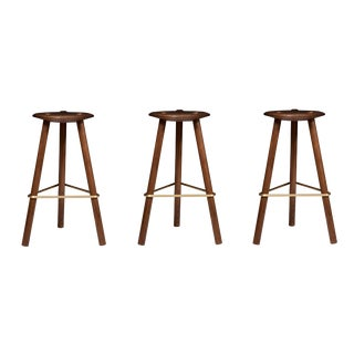 Erickson Aesthetics Set of Three Walnut Stools