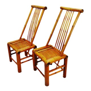 Handmade High Back Bamboo Accent Chairs - A Pair