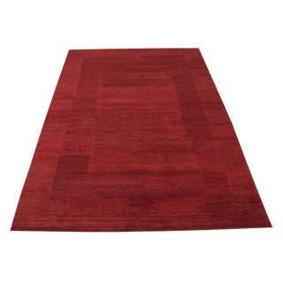 Hand Made Wool Gabbeh Design Red Rug - 6′6″ × 9′3″