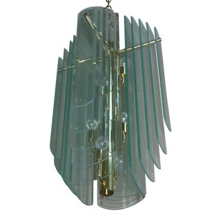 Brass & 20 Glass Panels Chandelier