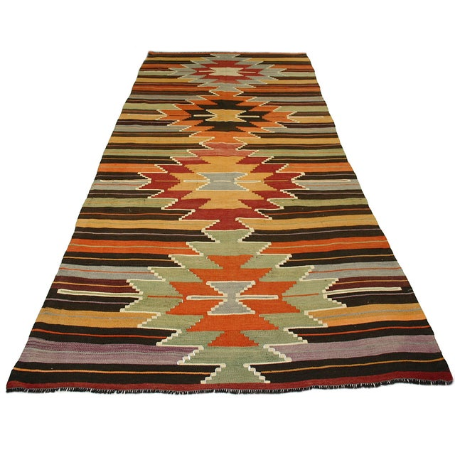 Image of Vintage Turkish Kilim Usak Flatweave - 4'5 X 11'9