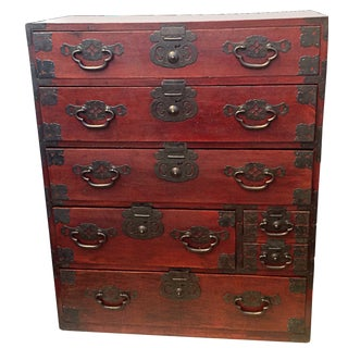 19th Century Red Lacquered Tansu Chest