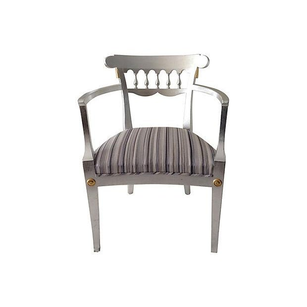 1950's Baker Silver Leaf Klismos Chair - Image 4 of 8