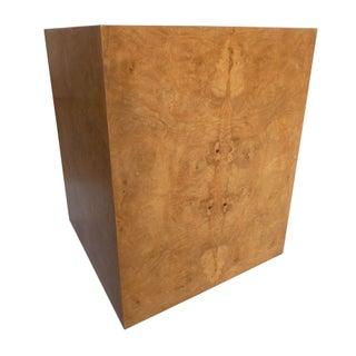 Milo Baughman Styled Burlwood Pedestal Cube Table
