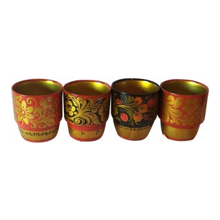 Vintage Russian Lacquerware Cups - Set of 4