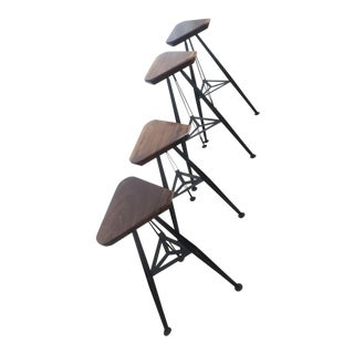 Walnut and Steel Bar Stool Set of 4