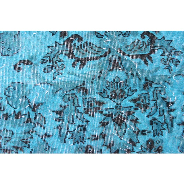 "Image of Vintage Turquoise Over-Dyed Rug - 6'2"" x 9'6"""