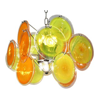 Vistosi Tangy Yellow & Orange Disc Pendant Light