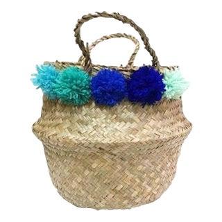 Green & Blue Pom Pom Sea Grass Belly Basket