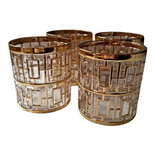 Mid-Century Gold Rocks Glasses by Imperial Glass