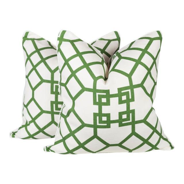 Custom Linen Emerald Lattice Imperial Pillows - A Pair - Image 1 of 4