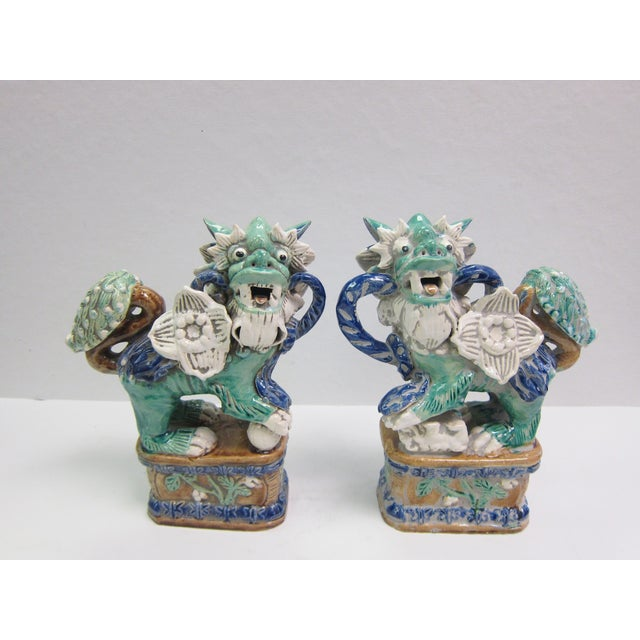 Vintage Turquoise Foo Dogs - A Pair - Image 3 of 8