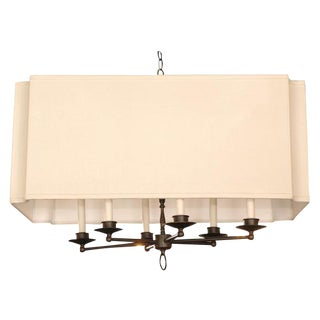 Customizable Paul Marra Design Six Arm Fixture with Scalloped Shade