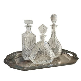 Vintage Silver Tray & Decanters - Set of 4