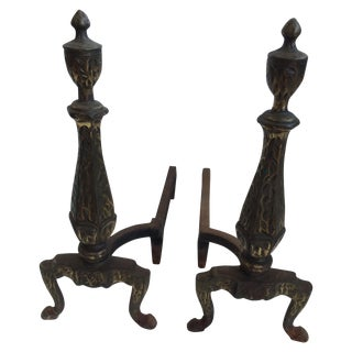 Andirons With Hammered Surface - A Pair