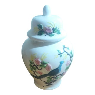 Vintage Ceramic Peacock & Floral Ginger Jar