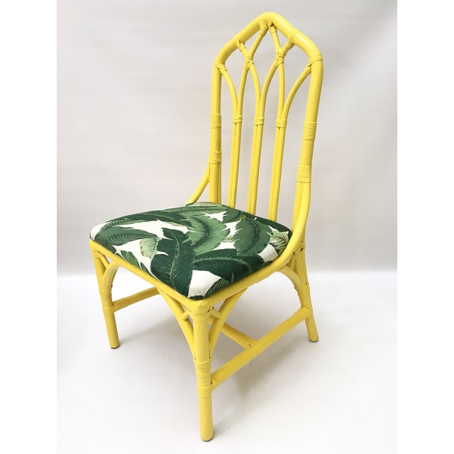 Tropical banana leaf print bamboo rattan dining chairs by