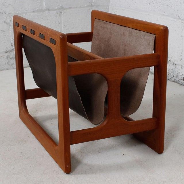 Danish Modern Teak & Leather Magazine Rack - Image 2 of 8