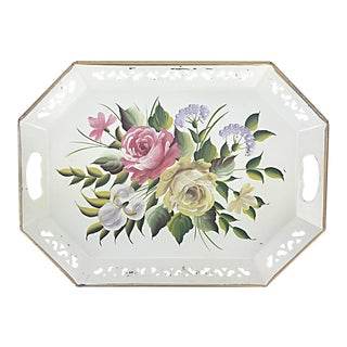 Vintage Hand Painted Floral Tray by Pilgrim Art