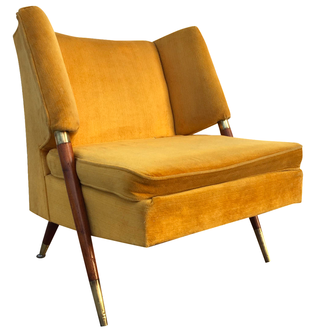 Mid Century Yellow Floating Lounge Chair