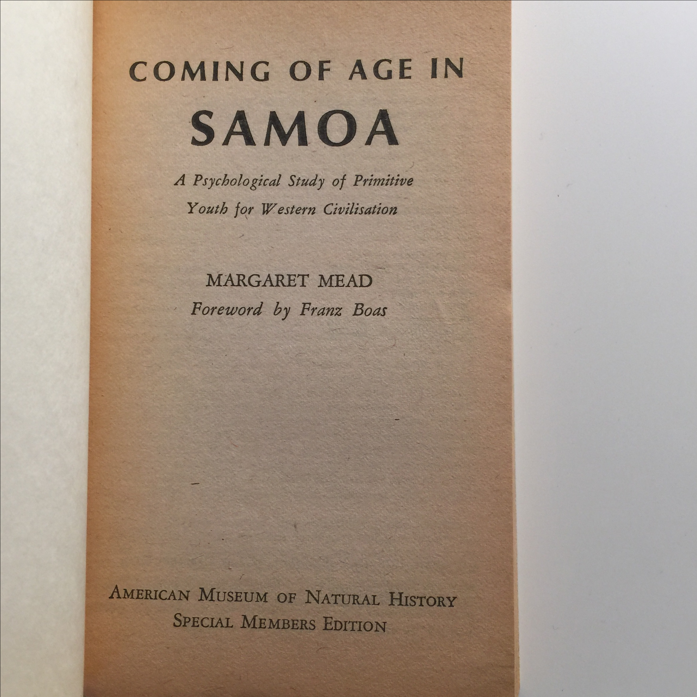 coming of age in samoa Essay coming of age in somoa: margaret meads coming of age in samoa, which was actually her doctoral dissertation, was compiled in a period of six months starting in 1925 through it, people were given a look at a society not affected by the problems of 20th century.