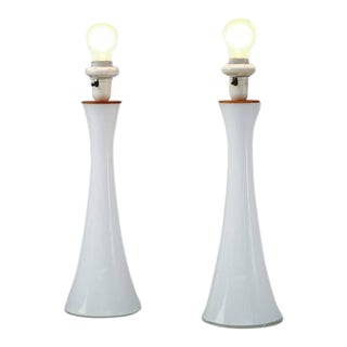 Bergboms Pair of Opaline Glass with Teak Table Lamps, Sweden, circa 1960