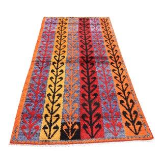 Handmade Vintage Turkish Tulu Rug - 4'2 X 8'1