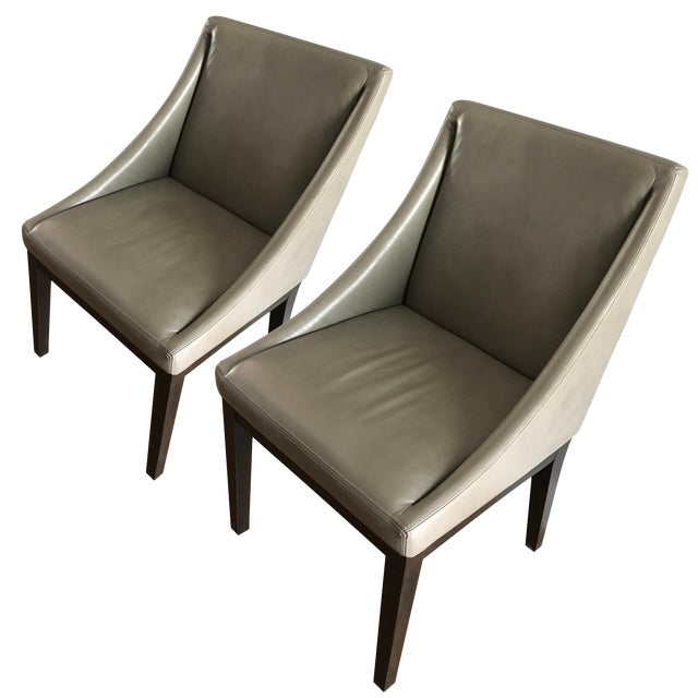 West Elm Leather Chairs A Pair Chairish