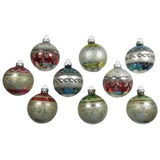 Glitter Band Ornaments - Set of 9