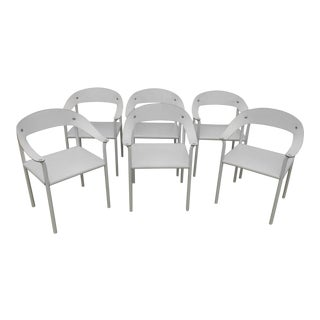 Matteograssi Inspired Italian White Leather Sling Back Armchairs - Set of 6