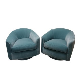 Mid-Century Modern Blue Barrel Swivel Chairs - a Pair