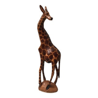 Hand Carved Wood Giraffe