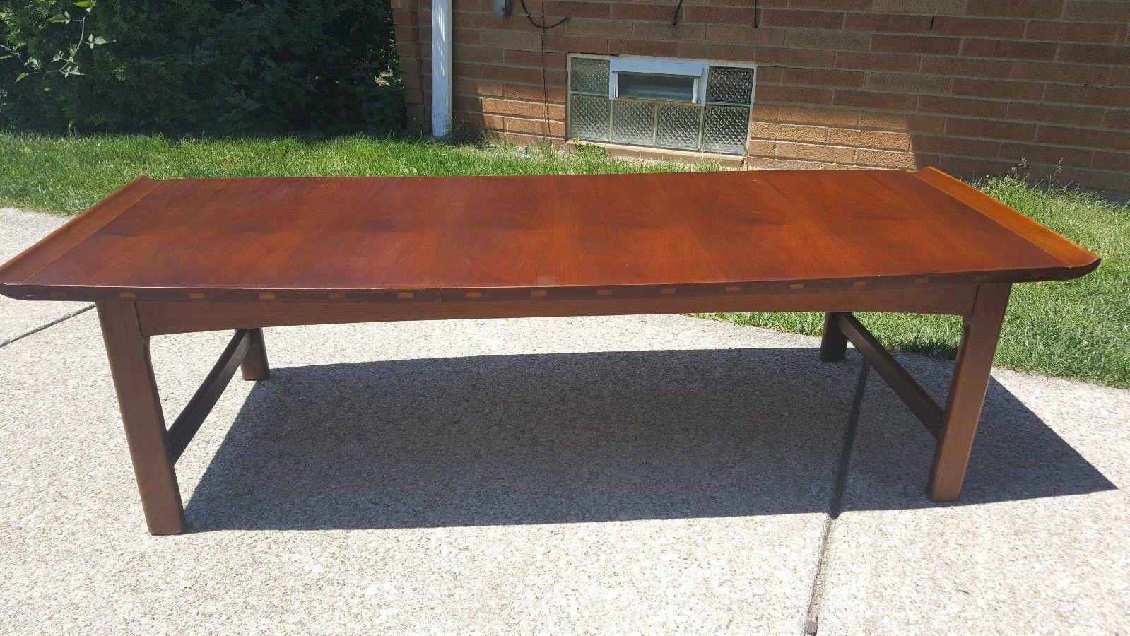 danish modern lane surfboard coffee table | chairish